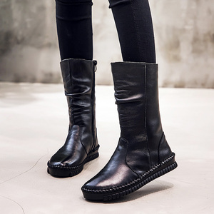 Image 5 - GKTINOO 2020 Womens Boots Autumn Leather Handmade Retro Flat Boots Flat Shoes Genuine Leather Boots for Women