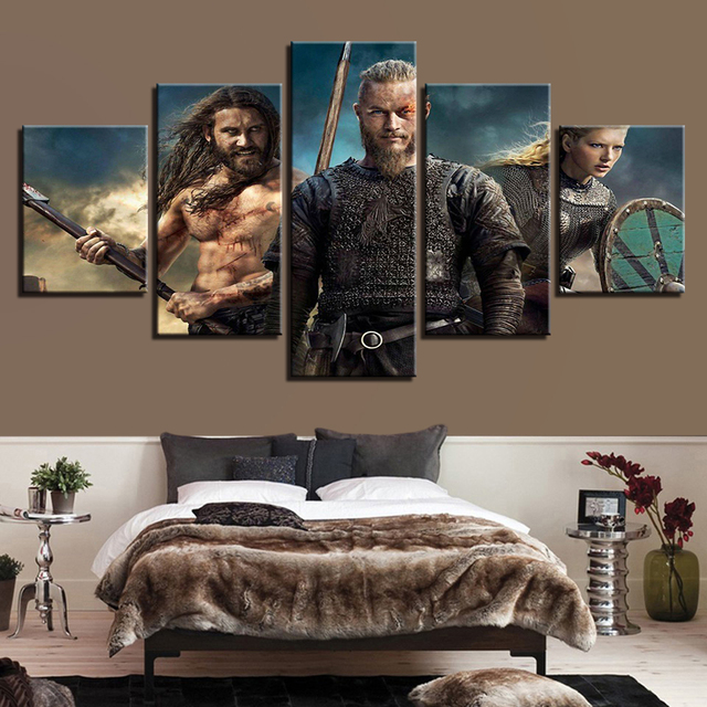 5 Pieces Hd Prints Wall Art Pictures Modern Homes Decor Canvas Vikings Paintings Livings Roomstv Series