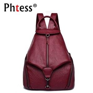 Image 1 - Женский кожаный рюкзак, винтажный повседневный рюкзак высокого качества, 2019