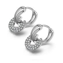 Modne okrągłe koło stadniny kolczyki cyrkonia kryształowe małe geometryczne okrągłe kolczyki dla kobiet biżuteria 2020 trend tanie tanio SIPENG JEL Miedzi CN (pochodzenie) ROUND Kobiety TRENDY Moda EH0108 Push-powrotem round earrings cubic zircon earrings korean earrings
