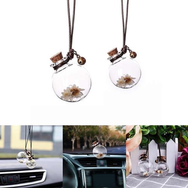Car Perfume Bottle Empty Hanging Bottle for Essential Oils Perfume Pendant Auto Ornament with Flower Air Freshener Car-styling