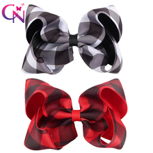 "Xugar 7.5"" Boutique Rhinestones Handmade Solid Hair Bow With Elastic Bands Cheer"