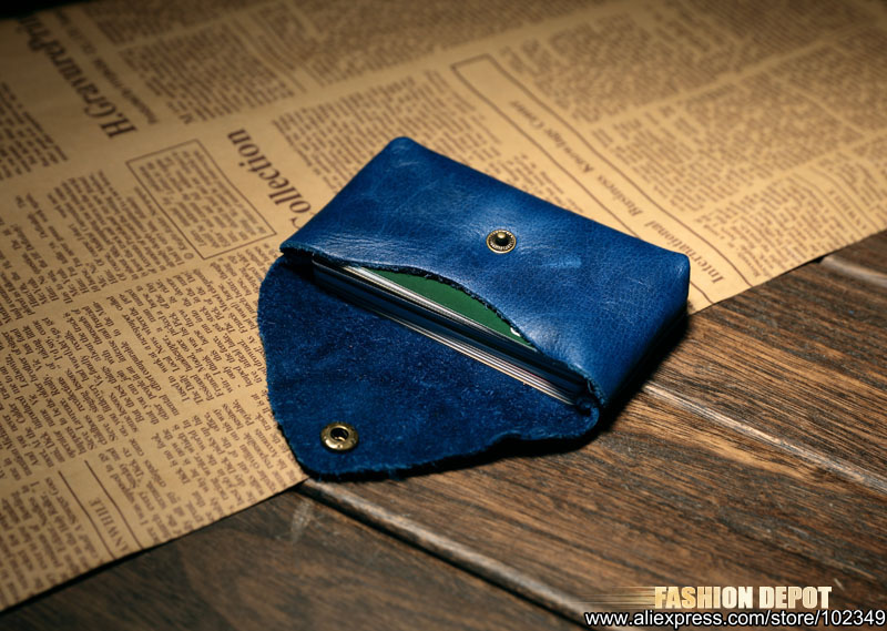 Cow Leather Real Leather Credit card holder business card wallet blue  (5)