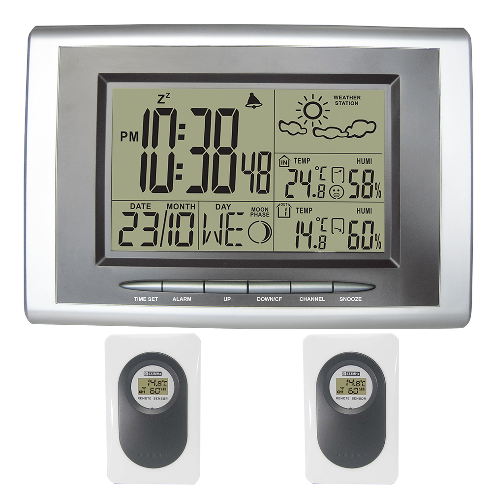 Digital Wireless Thermometer Hygrometer LCD Display Weather Station Indoor Outdoor Electronic Temperature Humidity 2 sesors digital tester 3in1 multifunction temperature humidity time lcd display monitor meter for car indoor outdoor greenhouse etc