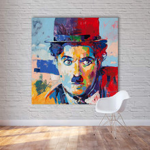 HDARTISAN Modern Abstract Figure Canvas Art Charlie Chaplin Pop Art Wall Pictures For Living Room Home Decor Painting No Frame(China)