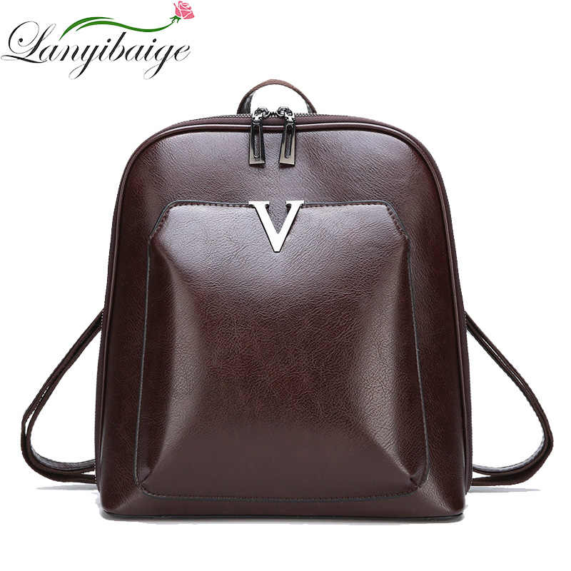 2018 Women Vintage Backpack Leather Luxurious Women Backpack Large Capacity School Bag For Girls Leisure Shoulder Bags For Women