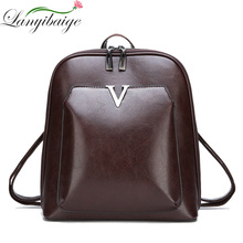 2018 Women Vintage Backpack Leather Luxurious Women Backpack