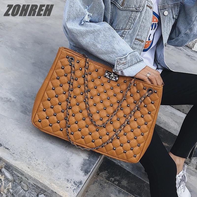 Bags For Women 2019 Autumn New Fashion Tide Korean Version Of The Rivet Large Capacity Shoulder Bag Chain Wild Messenger Bag