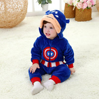 Bebek erkek kız tulum toddler all in one kapşonlu yumuşak bebek suit kaptan amerika anime kostüm