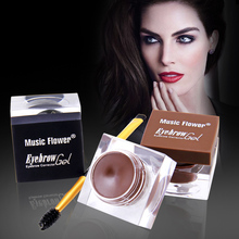 Купить с кэшбэком Music Flower Multifunction Eyebrow Makeup Kit Eye Brow Gel & Eyeliner Gel & Mascara With Double ended Shaping Brush Eye Liner