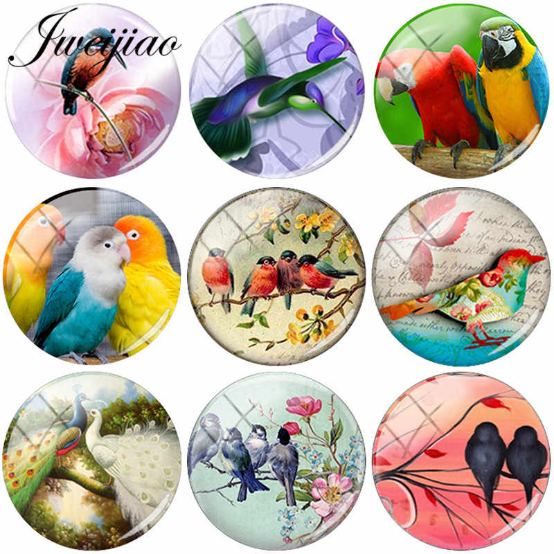 JWEIJIAO DIY Glass dome art picture birds Glass Gems Handmade Jewelry Findings Accessories For Earrings Bracelet Brooches