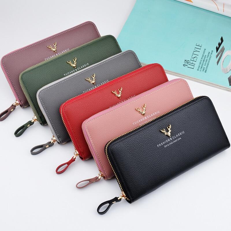 Brand Designer Leather Phone Wallets Women Purses Long Zipper Red Coin Wallet Female Money Bag Credit Card Holder Clutch Wallets