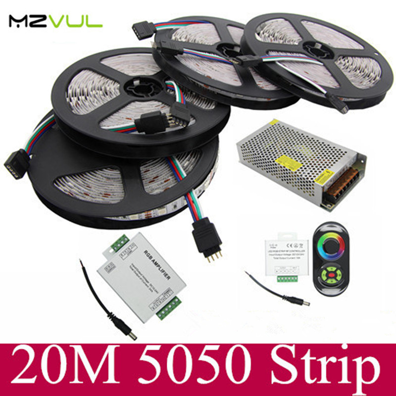 20M Waterproof 5050 RGB LED Strip light 60Leds/M SMD Flexible +18A Wireless Touch Remote Controller+24A Amplifier+12V 20 A Power 20m smd 5050 rgb led strip light 60leds m led flexible tape rope lights 18a wireless touch remote controller dc 12v power supply