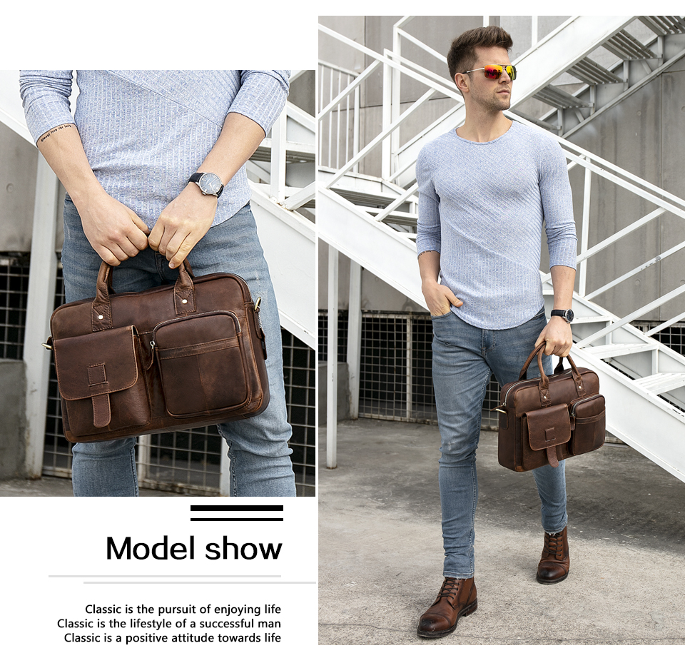 HTB1HB.2atfvK1RjSspoq6zfNpXag WESTAL men's briefcase bag men's genuine Leather laptop bag office bags for men business porte document briefcase handbag 8503