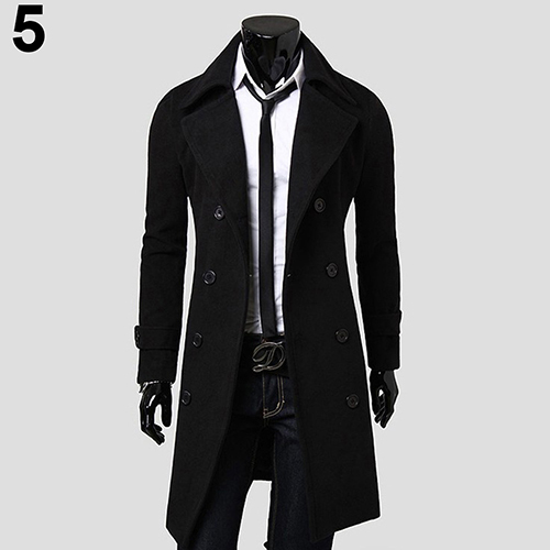 Men's Trench Coat Winter...