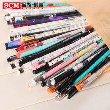 Canetas de gel 100 pçs/lote scm coréia empresa criativa papelaria gel caneta mix 0.35 0.38 0.5 canetas para artigos de papelaria estudante suprimentos