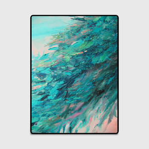 Image 3 - Nordic abstract oil painting green feather home bedroom bedside entrance elevator floor mat sofa coffee table anti slip carpet