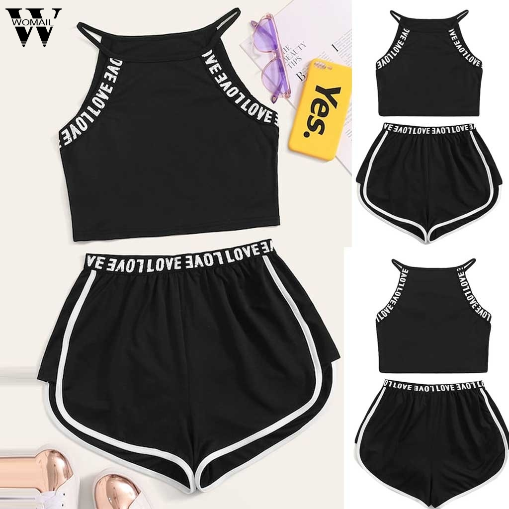 Womail Women tracksuit summer Casual 2PC Fashion Sexy Love Letter Tops+Short Set Sports Simplicity Set beach holiday J620