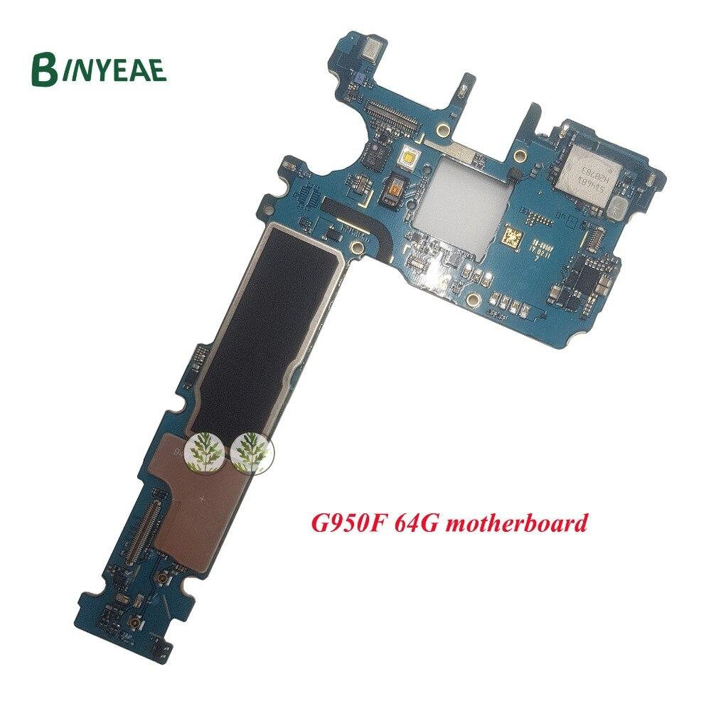 BINYEAE D'origine 64 gb G950F Carte Mère Débloqué Test Bon Remplacement Pour Samsung Galaxy S8 G950F Android 7.0 Principale Carte Mère