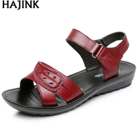 HAJINK Summer New Woman Soft Bottom Middle Aged Sandals Fashion Comfortable Mother Sandals Leather Women S
