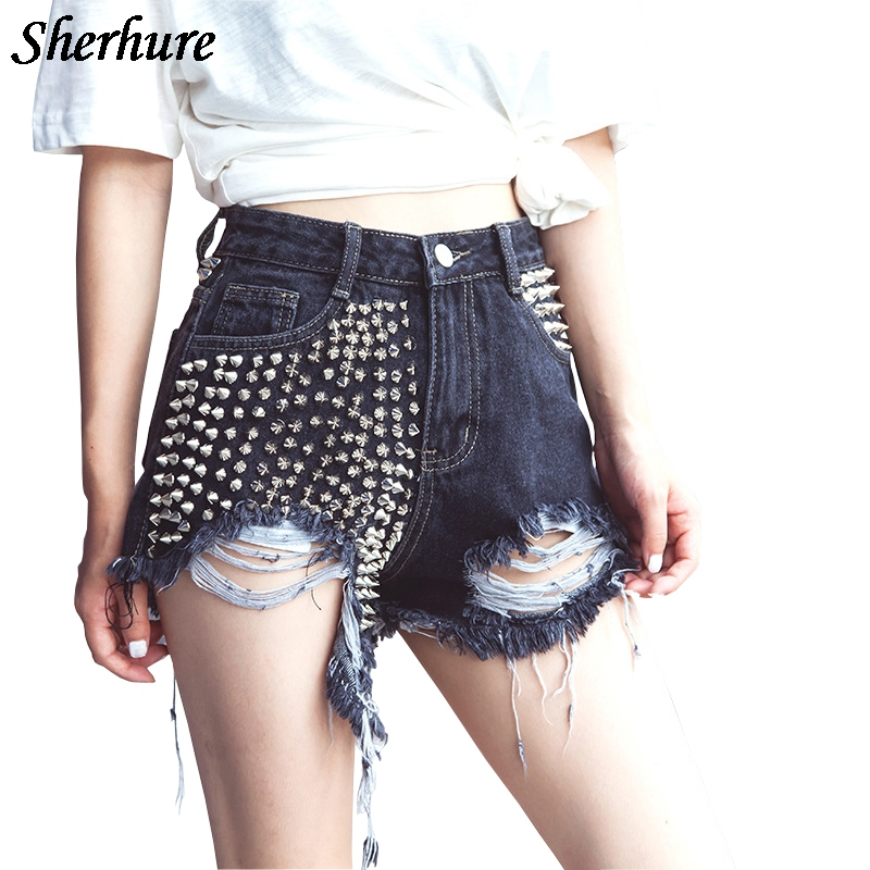 2018 Summer   Shorts   Women Rivet Hole Denim High Waist Slim Women   Shorts   Fashion   Shorts   With Pocket Sexy   Short   Feminino Black