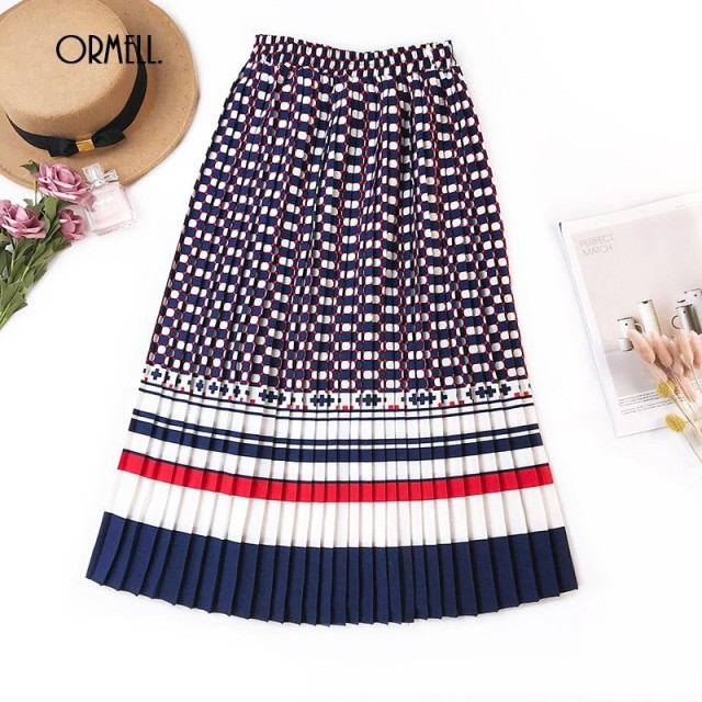 02e12a496 ORMELL 2019 Vintage Geometric Printed Pleated Skirts Womens Summer High  Waist Bandage Female A-line Fashion Slim Long Skirts
