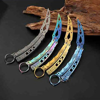 For Dull Blade Multi Color Practice Butterfly In Knife Balisong Trainer Training Pocket CS GO Karambit