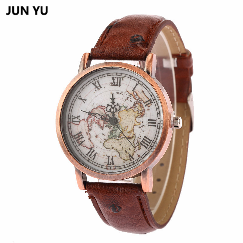 Clock JUNYU World Map Watch Globe Graduation Gift for women Wanderlust gift Unique map Travel Men watches Quartz Wristwatches