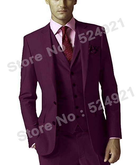 Plum Groomsmen Two Buttons Groom Tuxedos Notch Lapel Men Suits Wedding Best Man Blazer ( Jacket+Pants+Vest+Tie ) C461
