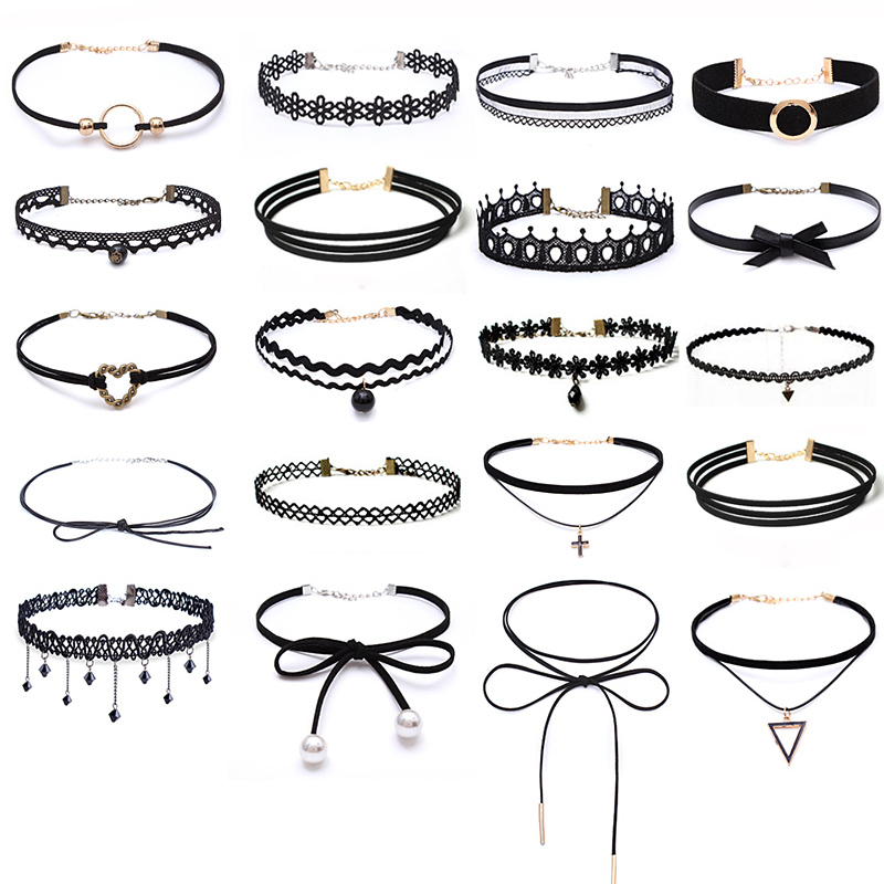 New Many Styles Short Punk Crystal Lace Multiple Layer Tassel Clavicle Tattoo Choker Necklace Bijoux Pendant For Women Jewelry(China)