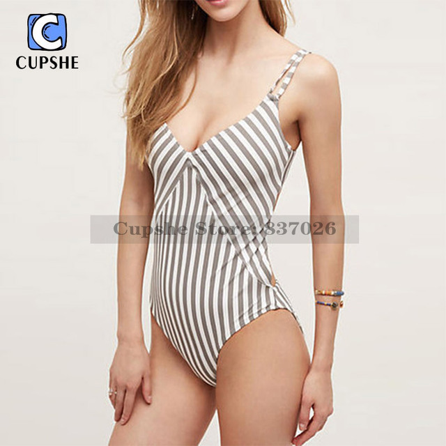 da5f5df6f4b8f CUPSHE All about Stripe One-piece Swimsuit Women Summer Sexy Swimsuit  Ladies Beach Bathing Suit swimwear
