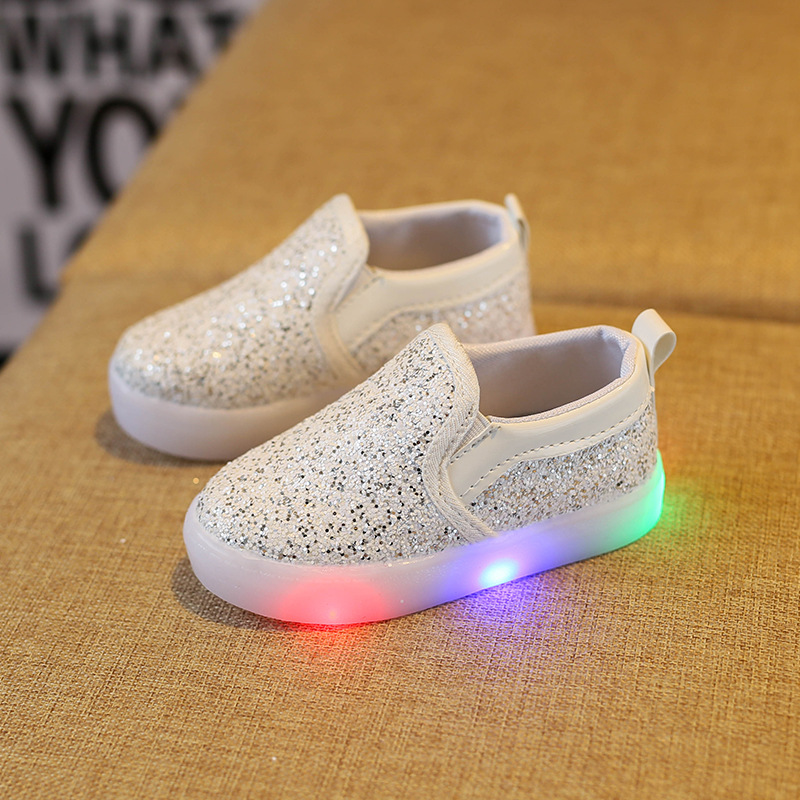 Led Kids light up shoes Gold Sequins toddler sneakers Luminous girl shoes children lighting shoes Flasher glowing sneakers