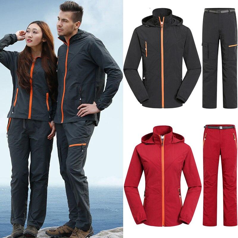 Male Female Jackets Outdoor Sports Suit Men&Women Breathable Jackets + Pants For Trekking Hiking Running Sportwear Windbreaker
