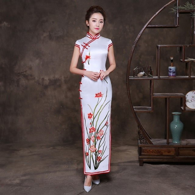 f2b73d47100 Embroidery Cheongsam Long Qipao Women Chinese Traditional Dress Oriental  Style Dresses Retro Dressing Gown China Clothing Store