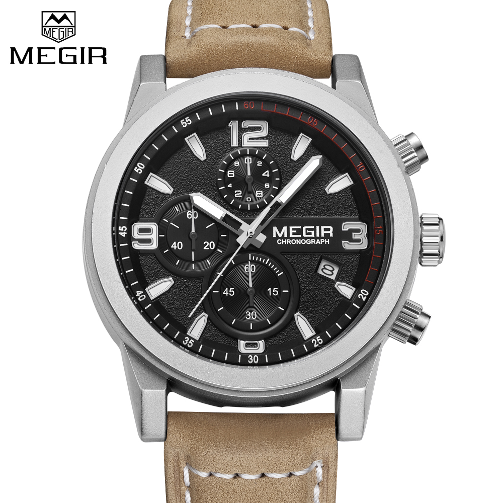 Megir New Fashion Men Quartz Watches High End Genuine Leather Calendar Waterproof Male Sport Watch Chronograph relogio masculino genuine jedir quartz male watches genuine leather watches racing men students game run chronograph watch male glow hands