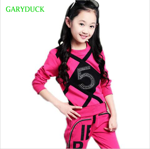 Girls Clothing Sets 2017 Spring Autumn Children Tracksuit Rhinestone Long Sleeve Sweatshirt + Pants Kids 2 Pcs Girls Sport Suit retail 2pcs brand new design girls clothing sets for kids autumn tracksuit for girls velvet jacket pants children sport suit