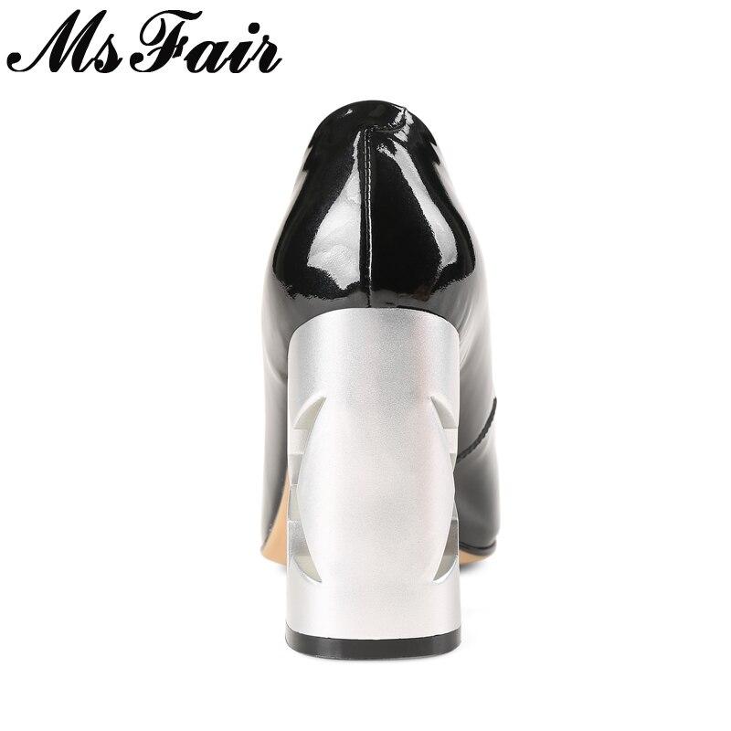 Haute Msfair Super Profonde Pointu Mode De Femmes En Cuir Véritable Printemps Pompes 2018 Casual Talons Peu Beige Étrange Bout noir Style tQdCshxr