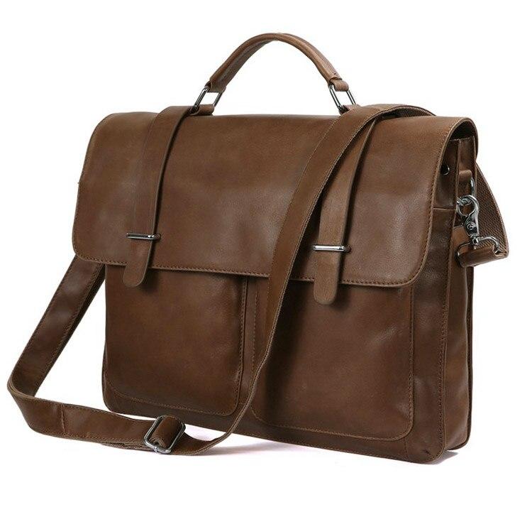 Augus First Layer Leather Brown Business Briefcase Handbag Small Laptop Vintage Shoulder Bag For Men 7100B-2