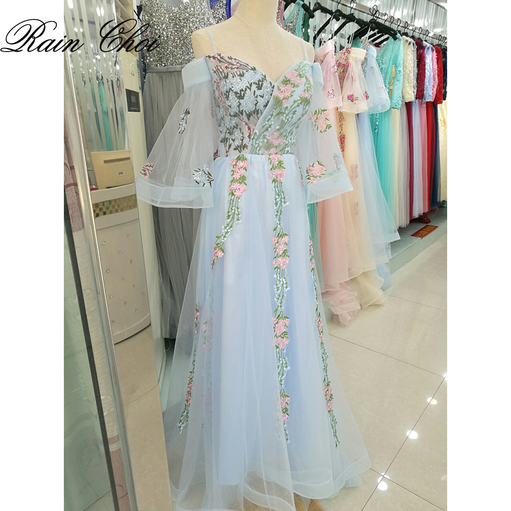 Vestido De Festa Longo Boat Neck Long Sleeves Floral Long   Bridesmaid     Dresses   Sky Blue Wedding Party Gowns Plus size 2019