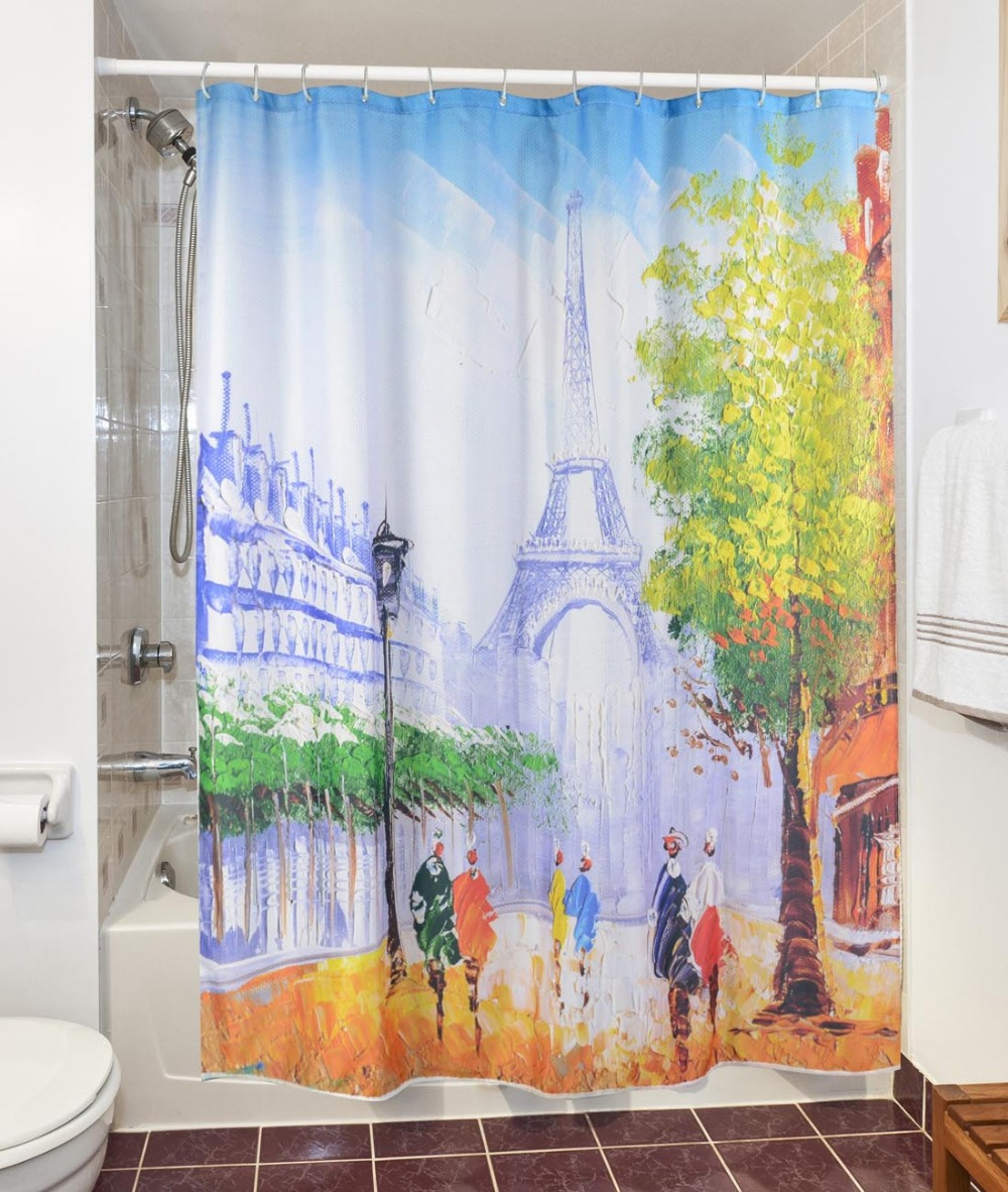 Us 13 99 3d Modern Paris Tower Scenery Shower Curtains Waterproof Polyester Fabric Bathroom Curtains Bath Curtain 180x180cm With 12 Hooks In Shower