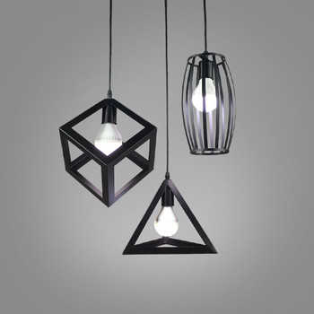 3pcs/set  LED Geometric Pendant Light Wrought Iron Vintage Hanging Lamp For Dinning Room kitchen Restaurant Suspension Luminaira