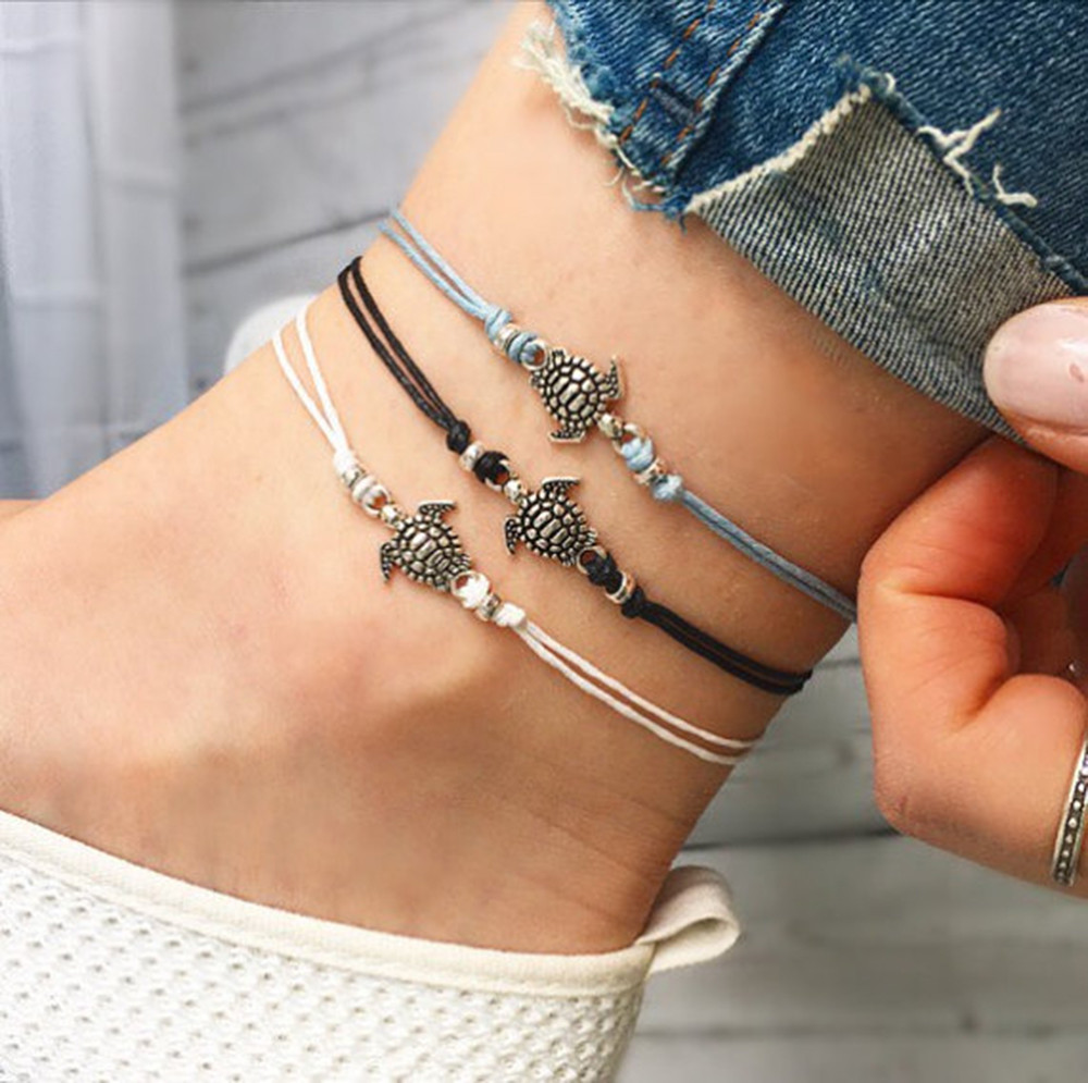 Summer Beach Turtle Shaped Charm Rope String Anklets For Women Ankle Bracelet Woman Sandals On the Leg Chain Foot Jewelry #G