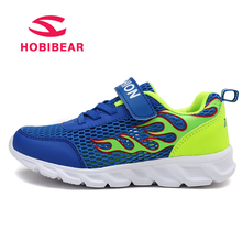 HOBIBEAR Children Shoes For Boys Girls Shoes Kids Casual Shoes Sneakers Breathable Hook&Loop Print Mesh Running Sport Sneakers