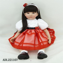 22 inch 55 cm reborn Silicone dolls, lifelike doll reborn babies toys Red princess skirt length hair doll