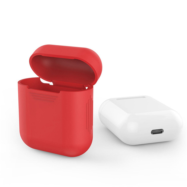 ซิลิโคนผิวนุ่มสำหรับApple Airpods Airpodป้องกันกระเป๋ากันกระแทกCoque Fundas Capaสีแดง