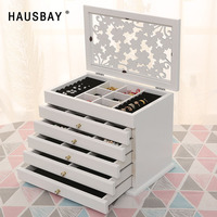 Solid Wood Jewelry Box Wooden High end Organizer Jewelry Box Marriage Holiday Gift Makeup Storage Box D042