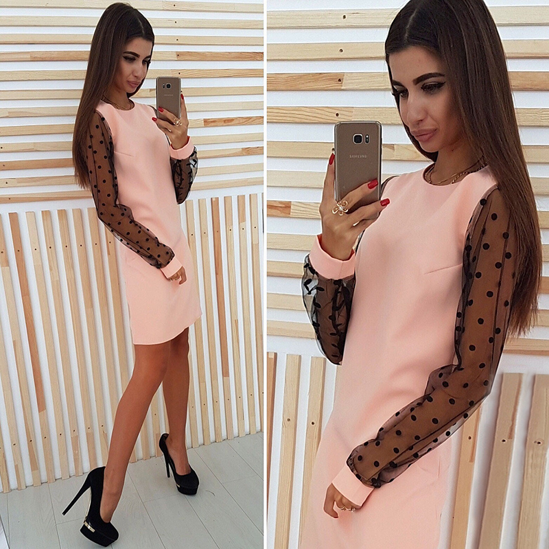 Ladies Polka Dot Mesh Patchwork Elegant Straight Dress 2018 Women Casual O-Neck Long Sleeve Autumn Dress Vestidos