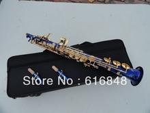 Professional wholesale soprano saxophone B surface gold-bonded blue