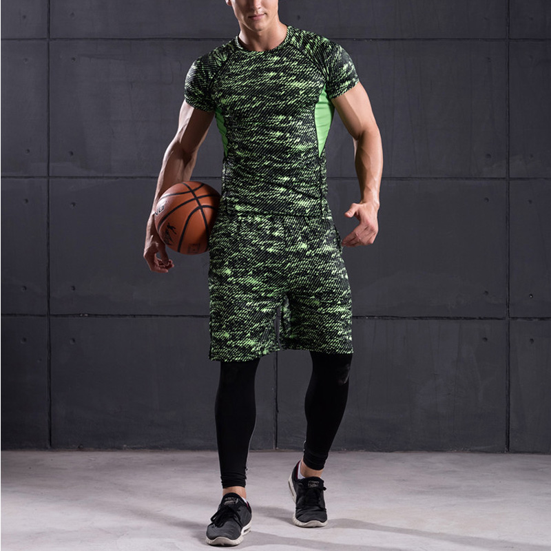 3Pcs High Quality Men's Sets Print Quick Dry Running Sport Suits Tracksuit Training Gym Fitness Compression Sets