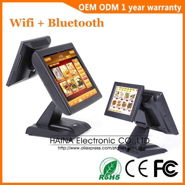 هينا تاتش 15 بوصة واي فاي شاشة تعمل باللمس مطعم نظام نقاط البيع شاشة مزدوجة آلة POS مع قارئ بطاقات MSR